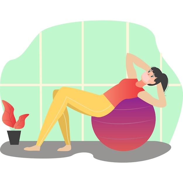 Mulher mascarada se exercitando com a bola fit em casa ilustração