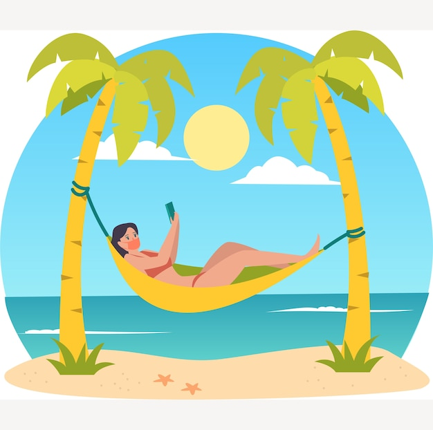 Mulher mascarada tomando banho de sol na praia durante a ilustração do feriado