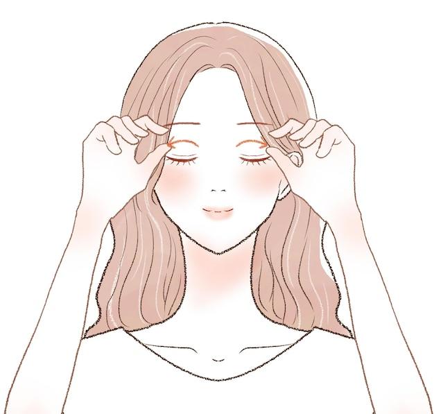 Mulher massageando os olhos. sobre um fundo branco.