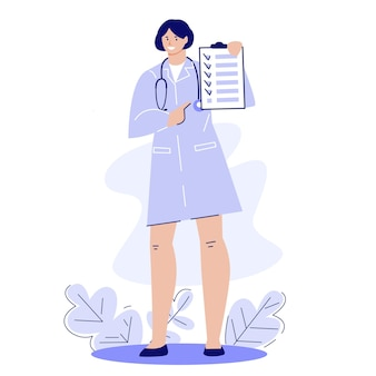 Mulher médica com a prancheta recomendações para tratamento e saúde