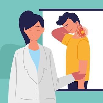 Mulher médica e homem