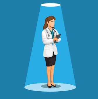 Mulher médica ou cientista em pé conceito na ilustração dos desenhos animados