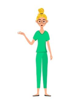 Mulher médico aponta para a mão direita para o lado