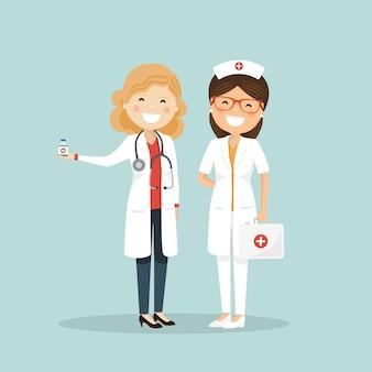 Mulher médico e enfermeira. equipe hospitalar