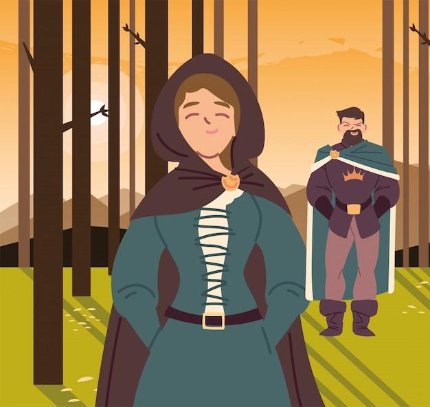 Mulher medieval e príncipe no design da floresta do reino e conto de fadas