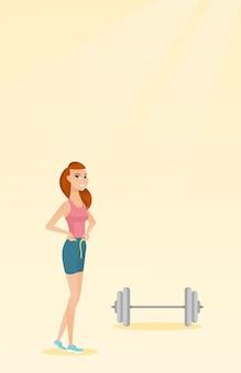 Mulher, medindo, cintura