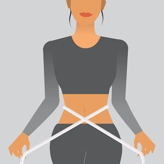 Mulher, medindo, dela, cintura, ilustração