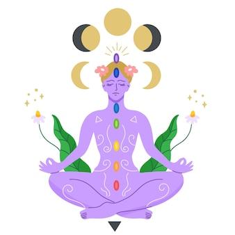 Mulher, meditando, chakras, conceito