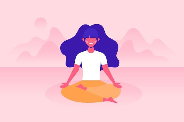 Mulher, meditando, conceito