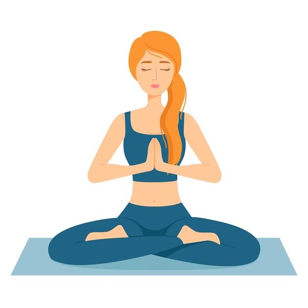 Mulher meditando. menina em posição de lótus praticando ioga, ilustração vetorial