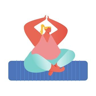 Mulher meditando sentado na postura de lótus com as mãos acima da cabeça.