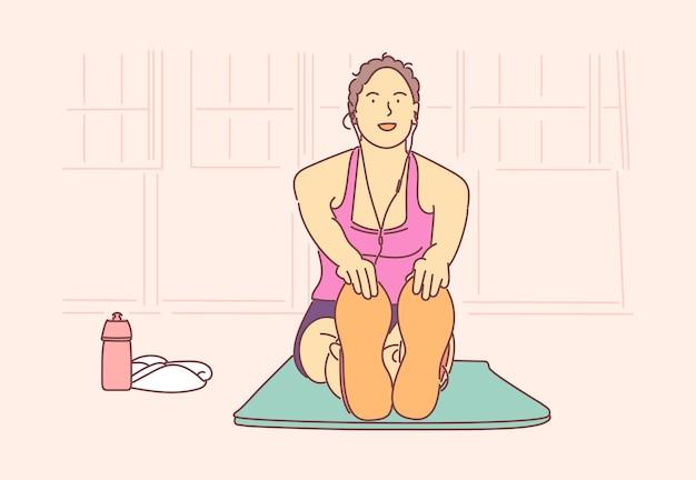Mulher menina atleta em roupas esportivas faz exercícios desenhados à mão