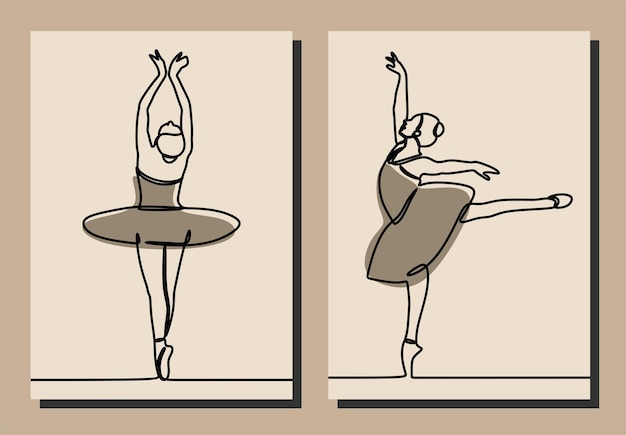 Mulher menina vestido ballet oneline linha contínua arte premium vector conjunto