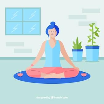Mulher, mindfulness, meditação, fundo