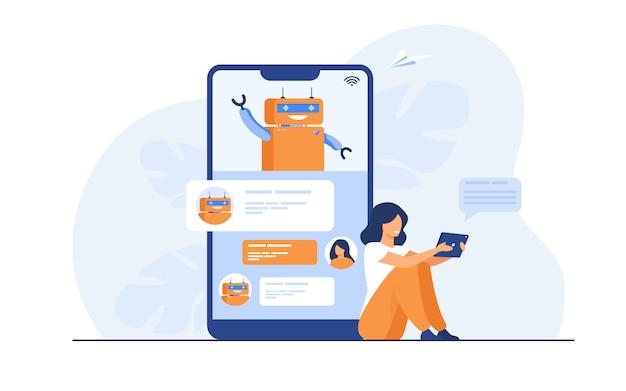 Mulher minúscula usando assistente móvel com chatbot