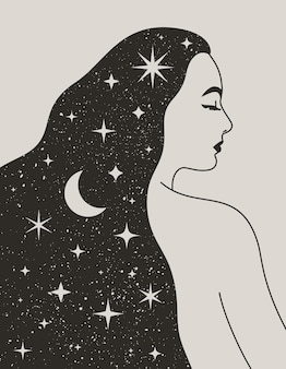 Mulher mística com a lua e as estrelas no cabelo em um estilo boho moderno. espaço vetorial retrato de uma menina para impressão de parede, t-shirt, desenho de tatuagem, para postagem em mídia social e histórias