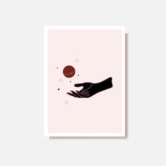 Mulher mística mão alquimia magia esotérica