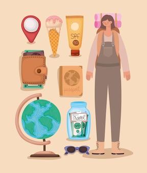 Mulher mochileira e elementos de viagem