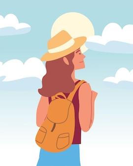 Mulher mochileira