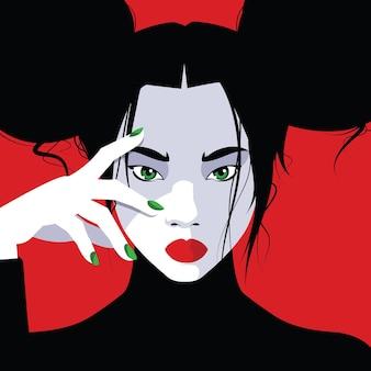 Mulher moda asiática em estilo pop art.