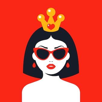 Mulher moderna com uma coroa e óculos