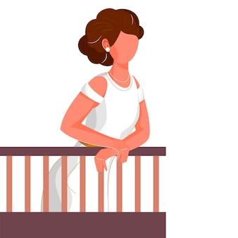 Mulher moderna nova sem rosto em pé na ilustração da varanda.
