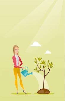 Mulher molhando a ilustração vetorial de árvore.
