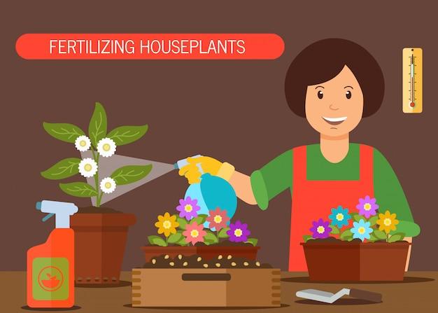 Mulher, molhando, casa, planta, vetorial, ilustração