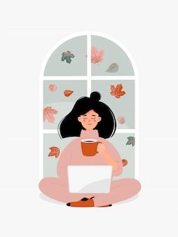 Mulher morena de vetor com uma xícara trabalhando no laptop pela janela