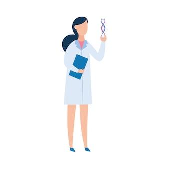 Mulher morena em um vestido de médico, um médico ou um cientista segurando um dna.