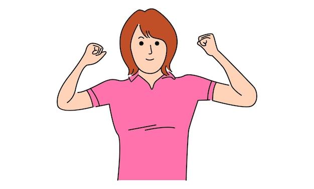 Mulher mostra seu bíceps. poder feminino