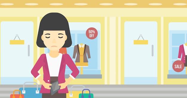 Mulher, mostrando, epmty, carteira