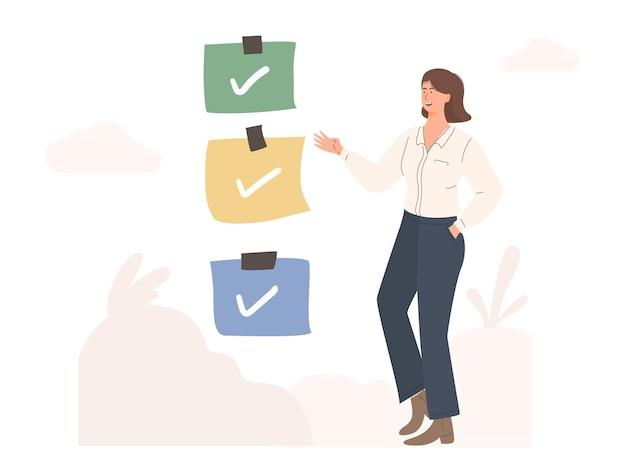 Mulher mostrando ilustração da lista de tarefas da lista de verificação
