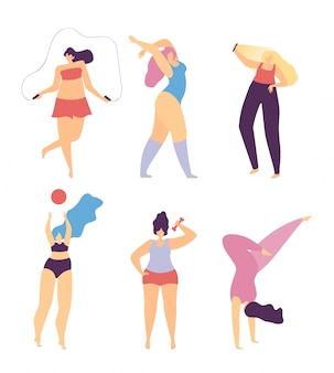 Mulher, motivar, amor, desporto, fazer, corporal, personagem
