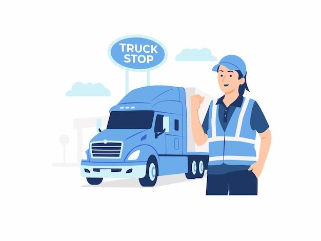 Mulher motorista de caminhão parada na frente de seu caminhão reboque grande caminhão de carga em ilustração de conceito de área de descanso de parada de caminhão