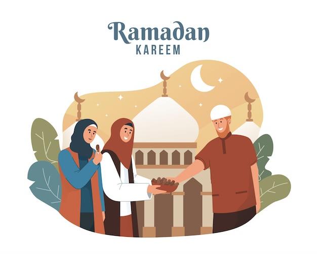 Mulher muçulmana compartilhando comida durante iftar
