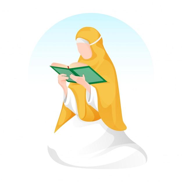 Mulher muçulmana dos desenhos animados, lendo um livro sagrado em pose de assento.