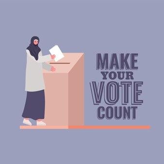 Mulher muçulmana e caixa de votação com design de texto de contagem de votos, tema do dia das eleições.