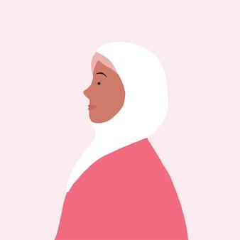 Mulher muçulmana forte no vetor de perfil