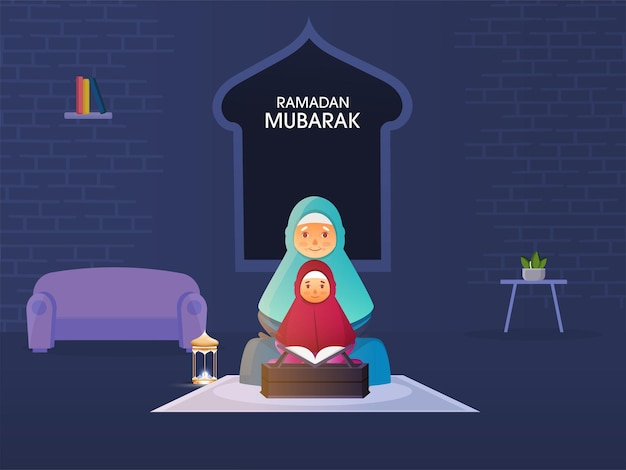 Mulher muçulmana idosa com a neta lendo o alcorão juntas