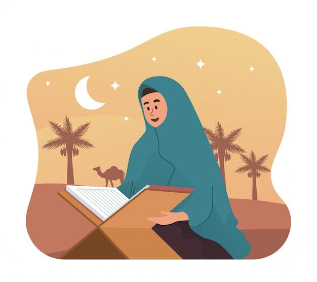 Mulher muçulmana lendo alcorão sagrado