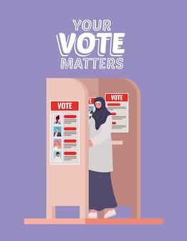 Mulher muçulmana na cabine de votação com seu design de texto de questões de voto, tema do dia das eleições.