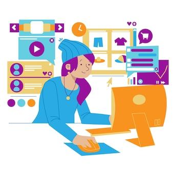 Mulher multitarefa enquanto pesquisava na web