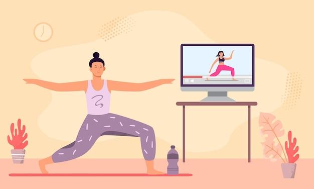 Mulher na aula de ioga online