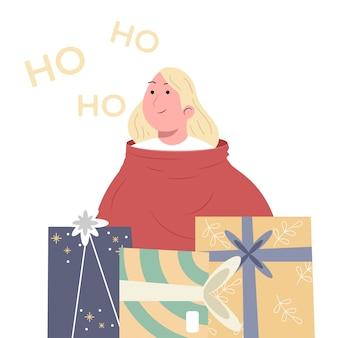 Mulher na bolsa com presente de natal