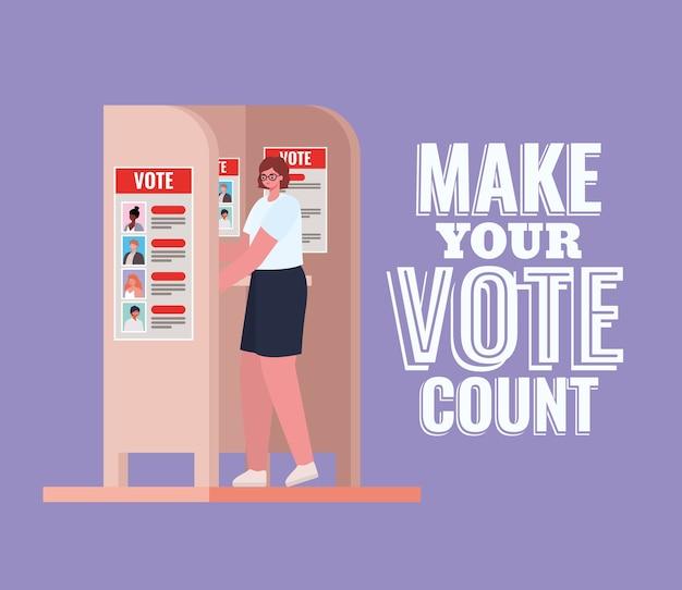 Mulher na cabine de votação com design de texto de contagem de votos, tema do dia de eleições.