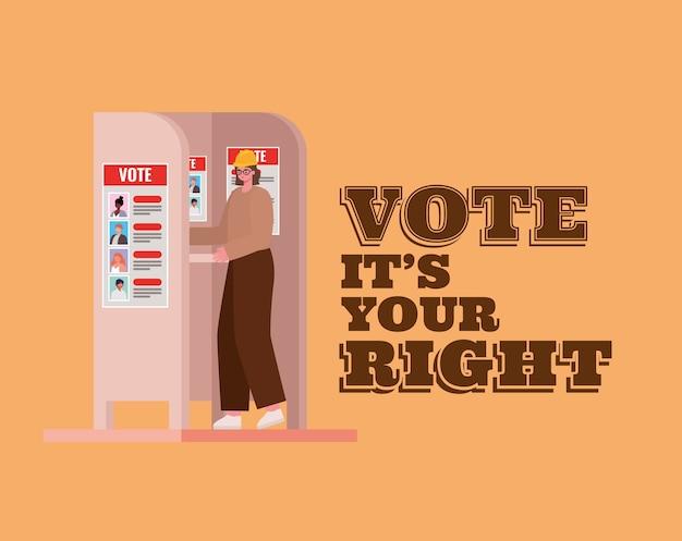 Mulher na cabine de votação com voto é o seu projeto de texto certo, tema do dia das eleições.