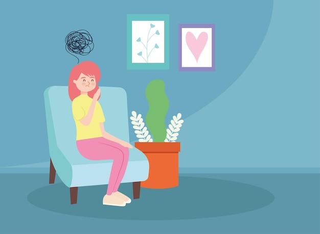 Mulher na cadeira com estresse de terapia virtual