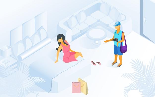 Mulher na cama homem espera na ilustração moderna sala
