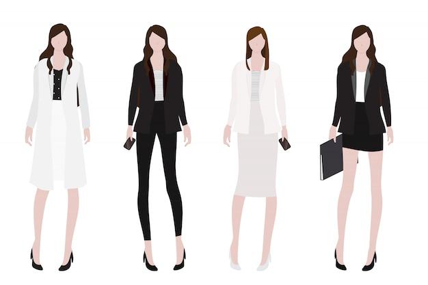 Mulher na coleção de estilo plano de roupa de trabalho
